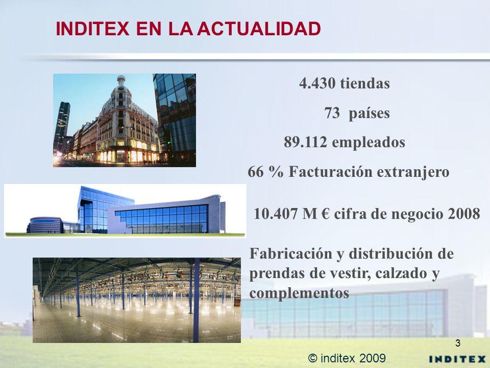 3 © inditex 2009 INDITEX EN LA ACTUALIDAD 4.430 tiendas 73 países 89.112 empleados 66 % Facturación extranjero 10.407 M cifra de negocio 2008 Fabricac