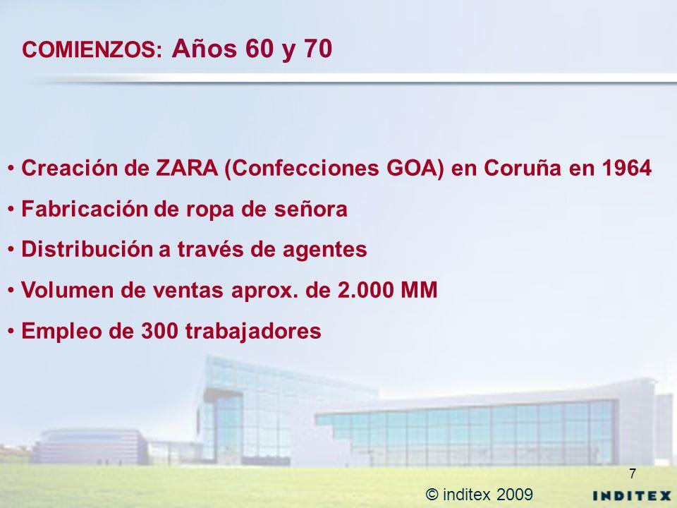 7 © inditex 2009 Creación de ZARA (Confecciones GOA) en Coruña en 1964 Fabricación de ropa de señora Distribución a través de agentes Volumen de venta