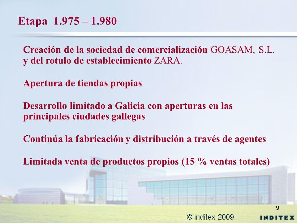 9 © inditex 2009 Etapa 1.975 – 1.980 Creación de la sociedad de comercialización GOASAM, S.L. y del rotulo de establecimiento ZARA. Apertura de tienda