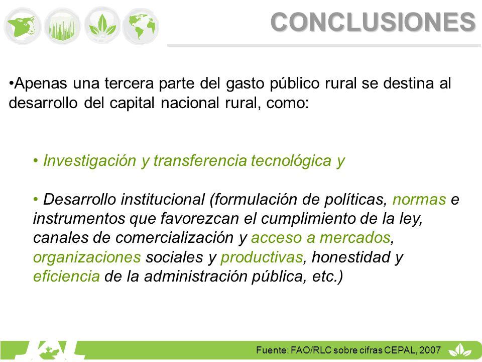 CONCLUSIONES Apenas una tercera parte del gasto público rural se destina al desarrollo del capital nacional rural, como: Investigación y transferencia
