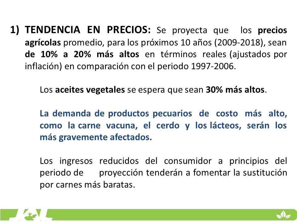 1)TENDENCIA EN PRECIOS: Se proyecta que los precios agrícolas promedio, para los próximos 10 años (2009-2018), sean de 10% a 20% más altos en términos