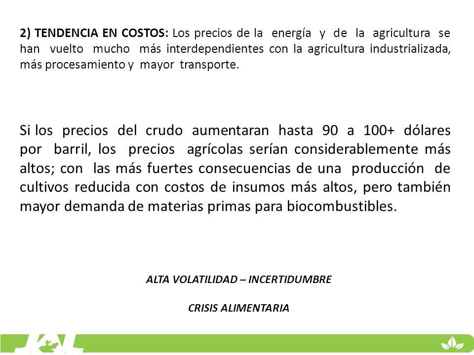 2) TENDENCIA EN COSTOS: Los precios de la energía y de la agricultura se han vuelto mucho más interdependientes con la agricultura industrializada, má