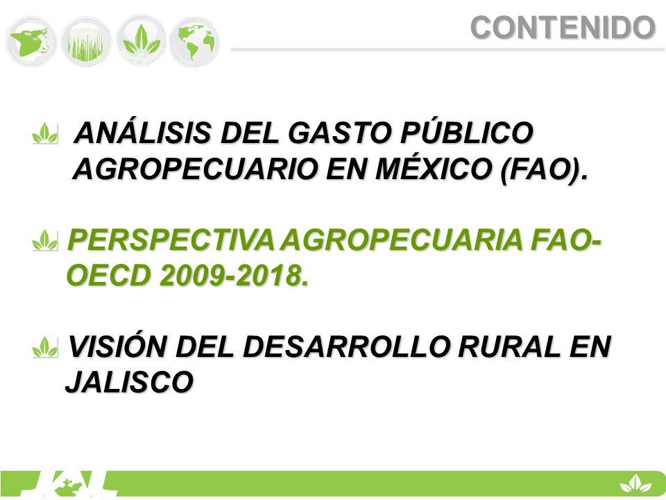 CONTENIDO ANÁLISIS DEL GASTO PÚBLICO ANÁLISIS DEL GASTO PÚBLICO AGROPECUARIO EN MÉXICO (FAO). AGROPECUARIO EN MÉXICO (FAO). PERSPECTIVA AGROPECUARIA F