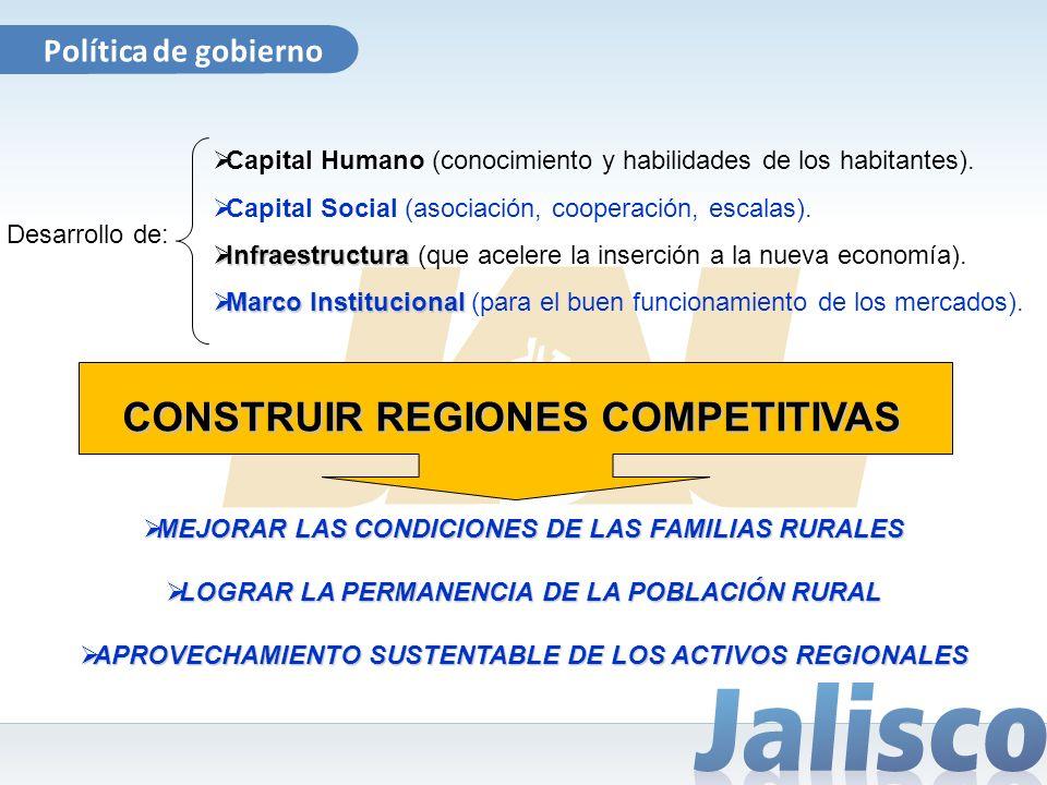 Política de gobierno CONSTRUIR REGIONES COMPETITIVAS Capital Humano (conocimiento y habilidades de los habitantes). Capital Social (asociación, cooper