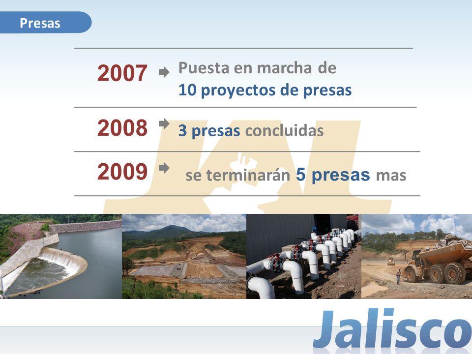 Presas 2008 3 presas concluidas 2009 se terminarán 5 presas mas 2007 Puesta en marcha de 10 proyectos de presas