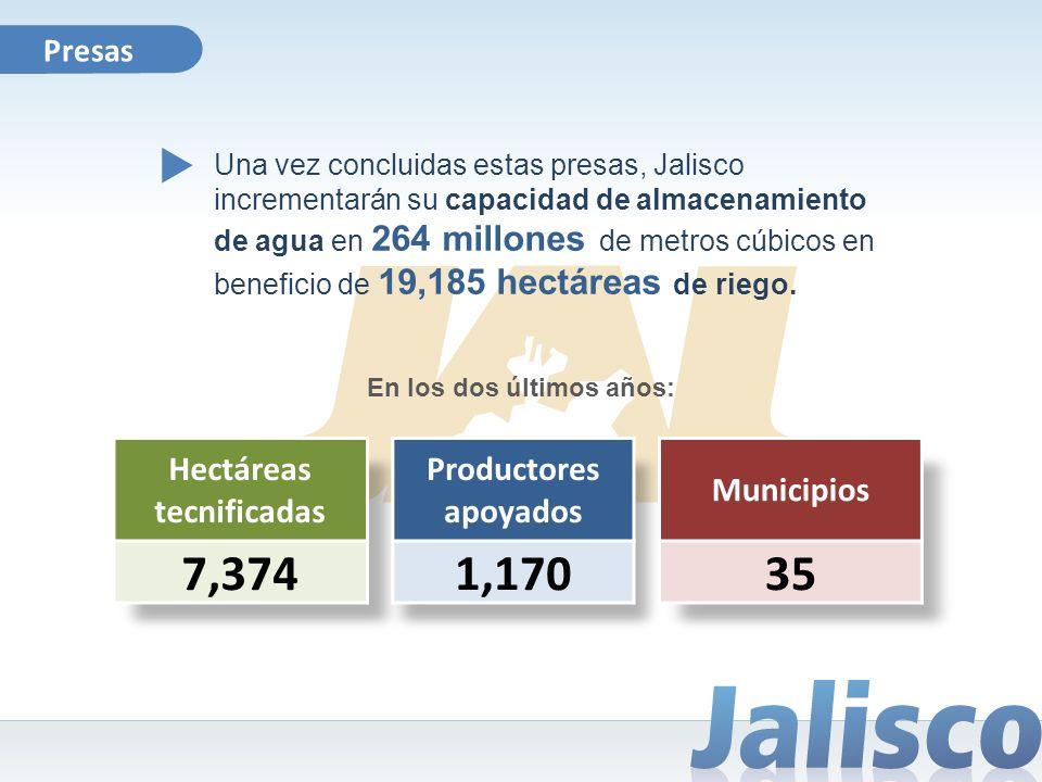 En los dos últimos años: Presas Una vez concluidas estas presas, Jalisco incrementarán su capacidad de almacenamiento de agua en 264 millones de metro