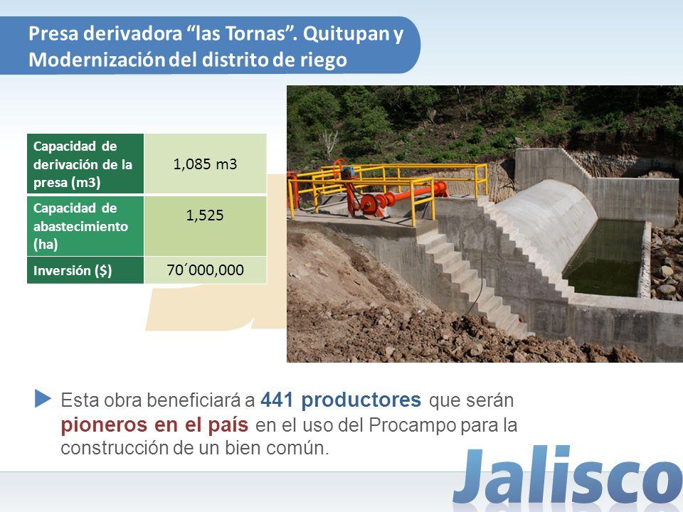 Presa derivadora las Tornas. Quitupan y Modernización del distrito de riego Capacidad de derivación de la presa (m3) 1,085 m3 Capacidad de abastecimie
