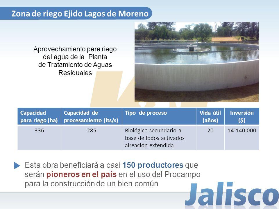 Zona de riego Ejido Lagos de Moreno Aprovechamiento para riego del agua de la Planta de Tratamiento de Aguas Residuales Capacidad para riego (ha) Capa