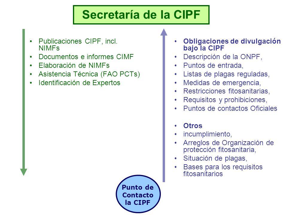 Secretaría de la CIPF Gobierno Nacional ONPF Punto de Contacto la CIPF Otros ONPF Modos de comunicación (Fax, correo, e-mail, PFI) PFI = Herramienta preferida para el intercambio de información Convención
