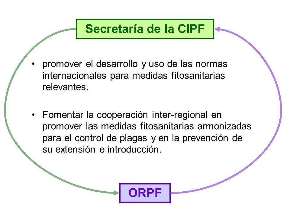 promover el desarrollo y uso de las normas internacionales para medidas fitosanitarias relevantes. Fomentar la cooperación inter-regional en promover