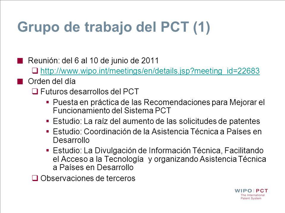 Grupo de trabajo del PCT (1) Reunión: del 6 al 10 de junio de 2011 http://www.wipo.int/meetings/en/details.jsp?meeting_id=22683 Orden del día Futuros