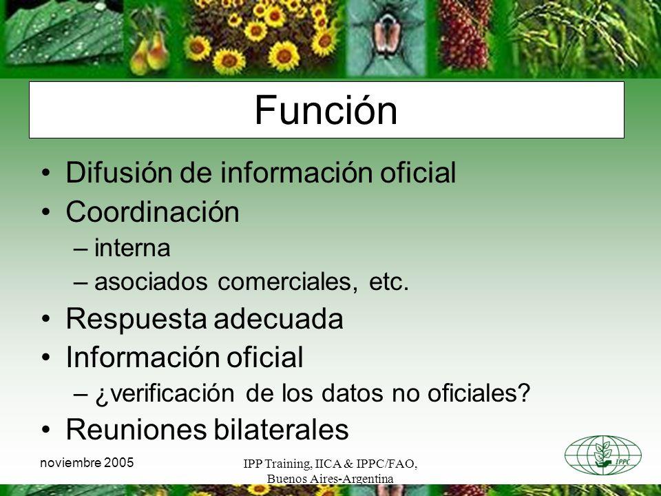 IPP Training, IICA & IPPC/FAO, Buenos Aires-Argentina noviembre 2005 Función Difusión de información oficial Coordinación –interna –asociados comerciales, etc.