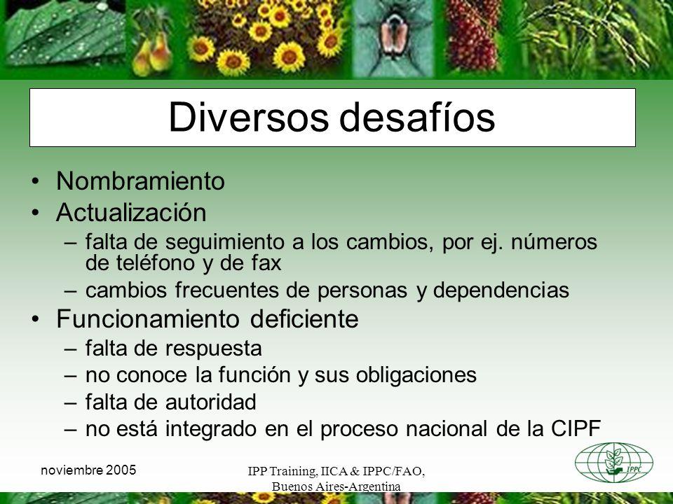 IPP Training, IICA & IPPC/FAO, Buenos Aires-Argentina noviembre 2005 Diversos desafíos Nombramiento Actualización –falta de seguimiento a los cambios, por ej.