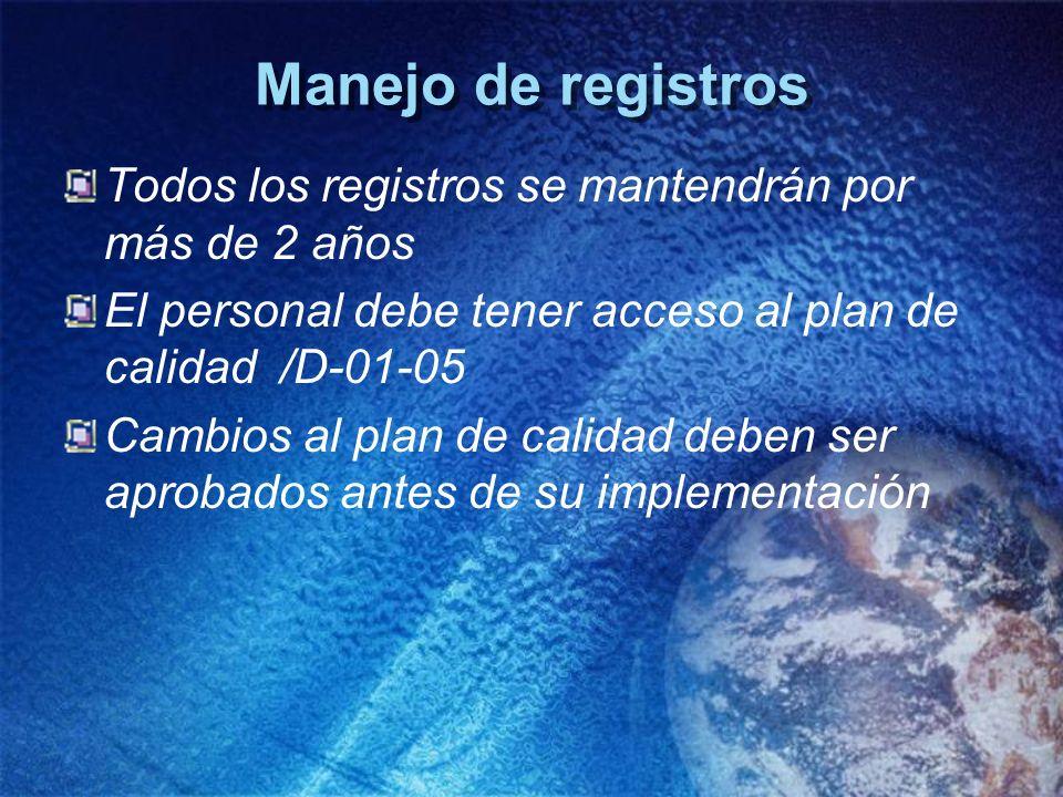 Manejo de registros Todos los registros se mantendrán por más de 2 años El personal debe tener acceso al plan de calidad /D-01-05 Cambios al plan de c