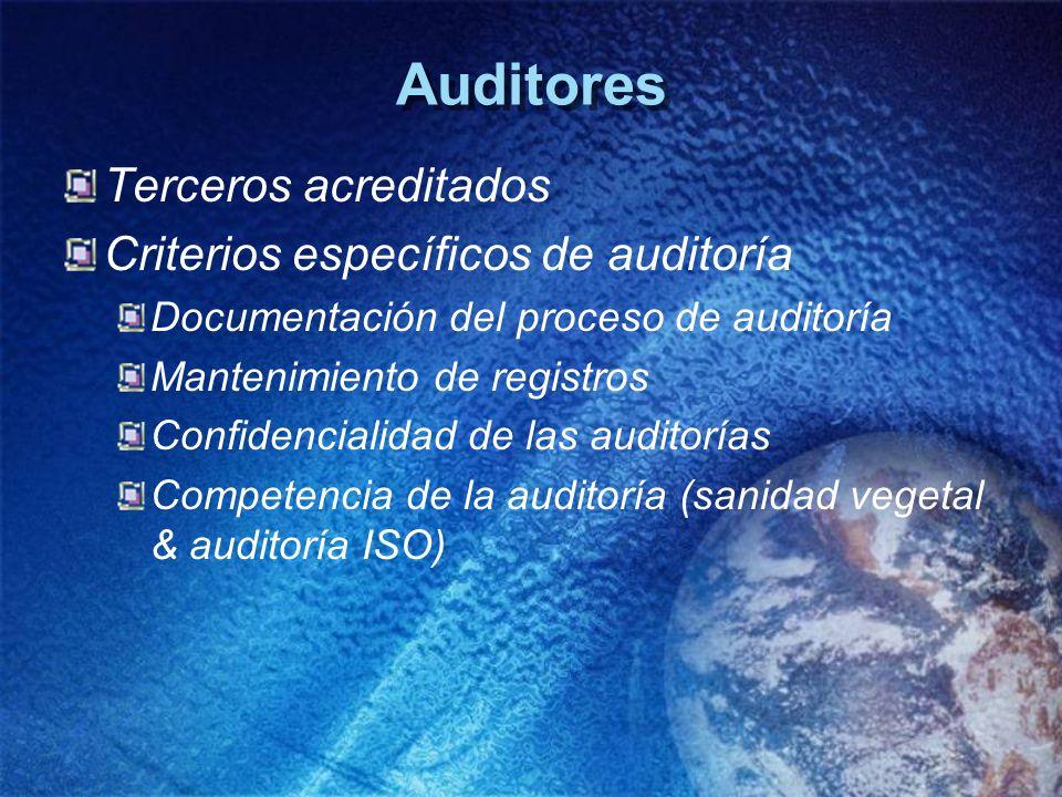 Auditores Terceros acreditados Criterios específicos de auditoría Documentación del proceso de auditoría Mantenimiento de registros Confidencialidad d