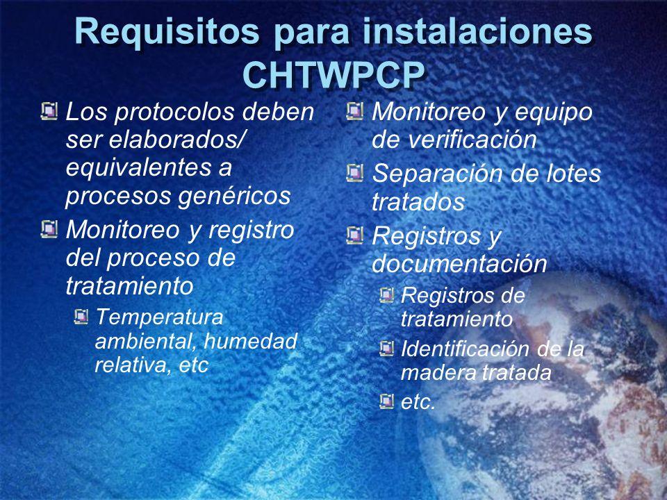 Requisitos para instalaciones CHTWPCP Los protocolos deben ser elaborados/ equivalentes a procesos genéricos Monitoreo y registro del proceso de trata