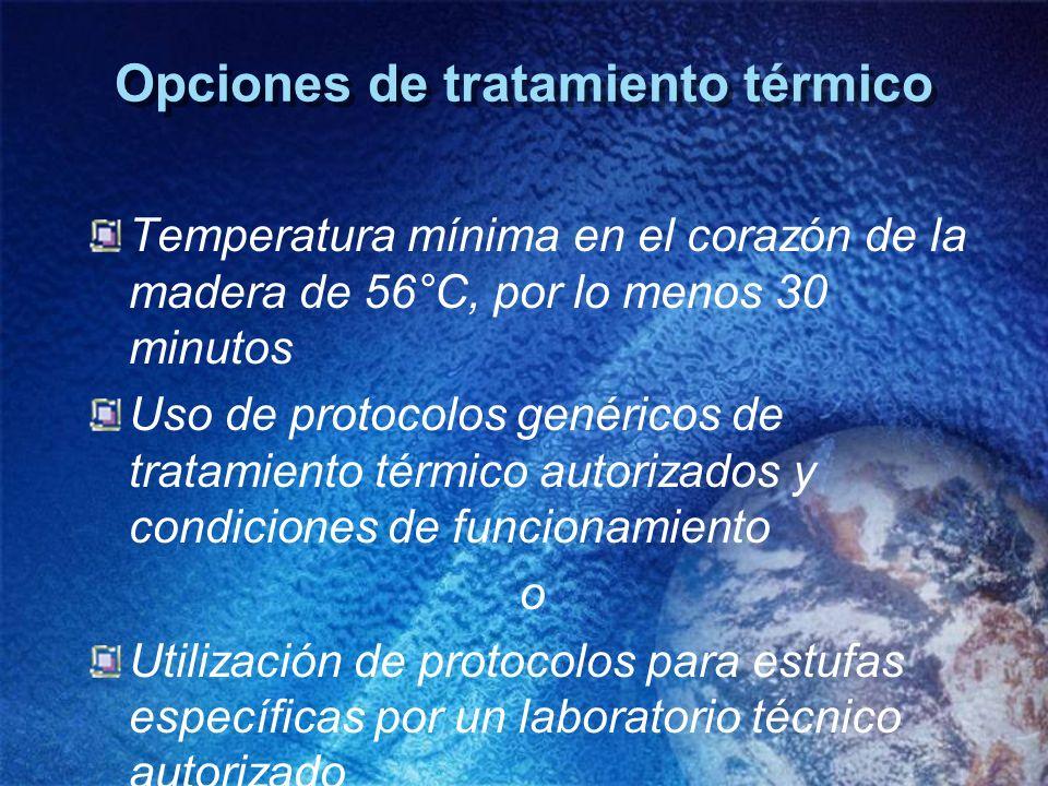Opciones de tratamiento térmico Temperatura mínima en el corazón de la madera de 56°C, por lo menos 30 minutos Uso de protocolos genéricos de tratamie