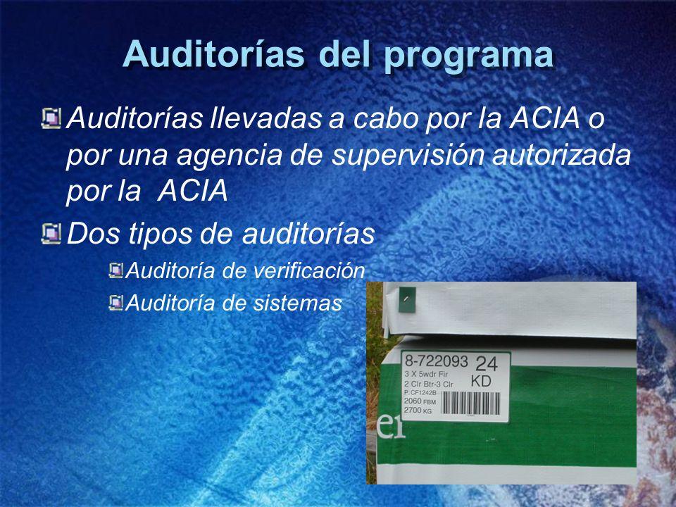 Auditorías del programa Auditorías llevadas a cabo por la ACIA o por una agencia de supervisión autorizada por la ACIA Dos tipos de auditorías Auditor