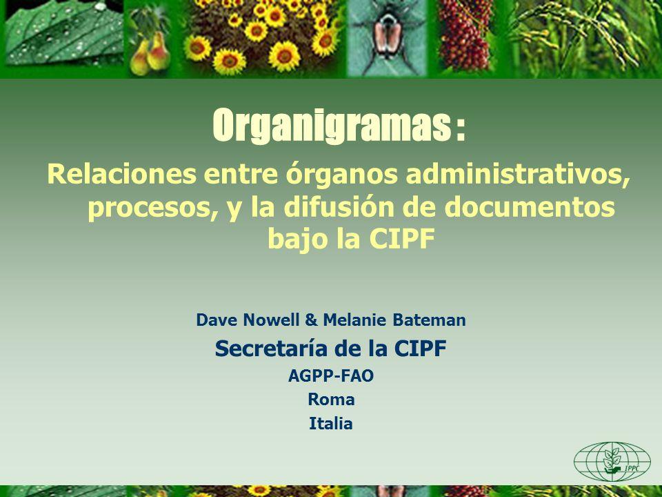 Organigramas : Relaciones entre órganos administrativos, procesos, y la difusión de documentos bajo la CIPF Dave Nowell & Melanie Bateman Secretaría d