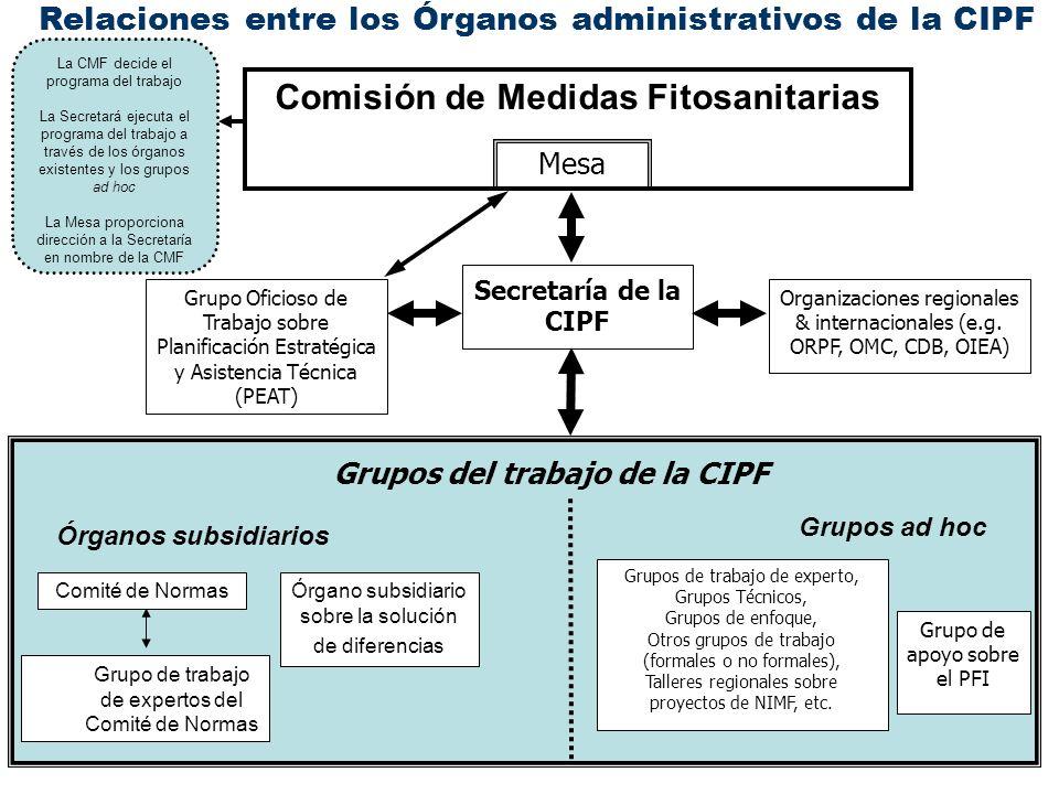 Mesa Comisión de Medidas Fitosanitarias Grupo Oficioso de Trabajo sobre Planificación Estratégica y Asistencia Técnica (PEAT) Organizaciones regionale