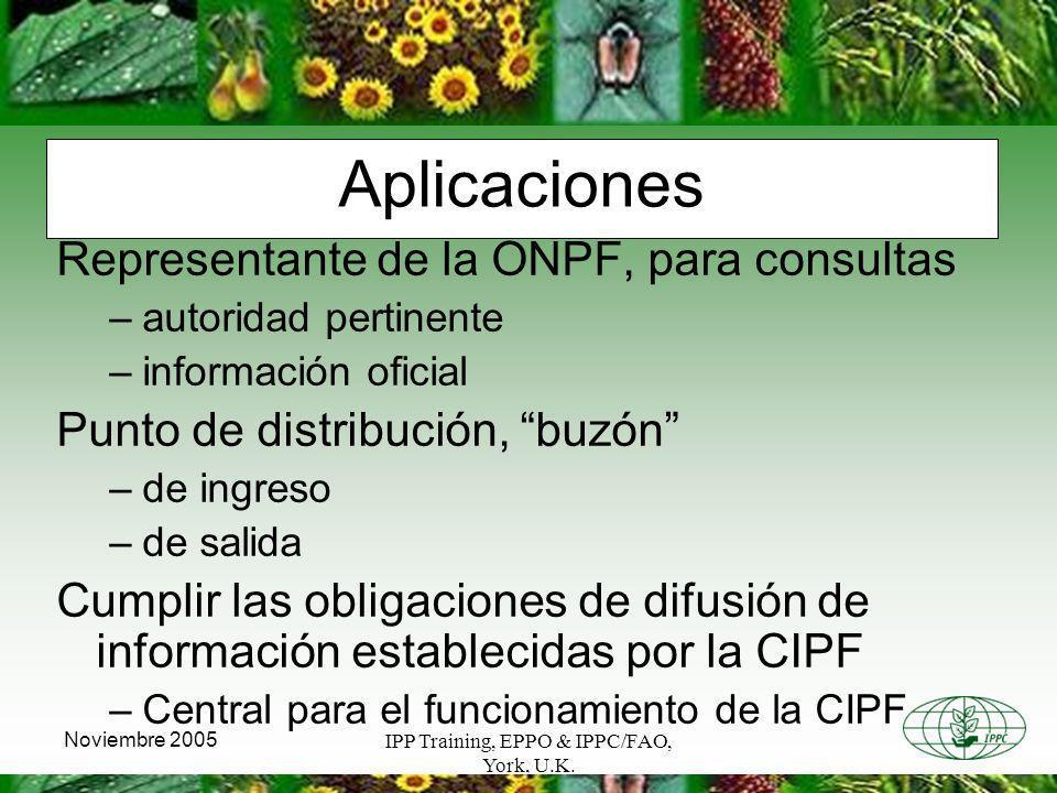IPP Training, EPPO & IPPC/FAO, York, U.K. Noviembre 2005 Aplicaciones Representante de la ONPF, para consultas –autoridad pertinente –información ofic