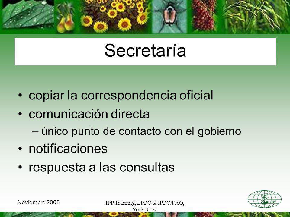 IPP Training, EPPO & IPPC/FAO, York, U.K. Noviembre 2005 Secretaría copiar la correspondencia oficial comunicación directa –único punto de contacto co