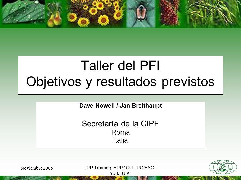 Noviembre 20051 IPP Training, EPPO & IPPC/FAO, York, U.K. Taller del PFI Objetivos y resultados previstos Dave Nowell / Jan Breithaupt Secretaría de l