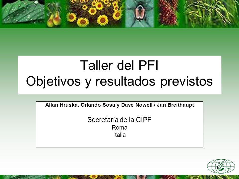 1 Taller del PFI Objetivos y resultados previstos Allan Hruska, Orlando Sosa y Dave Nowell / Jan Breithaupt Secretaría de la CIPF Roma Italia