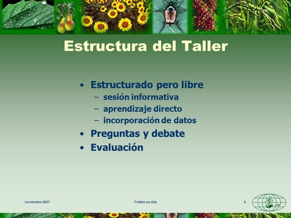 noviembre 2007Folleto no.02a6 Estructura del Taller Estructurado pero libre –sesión informativa –aprendizaje directo –incorporación de datos Preguntas y debate Evaluación