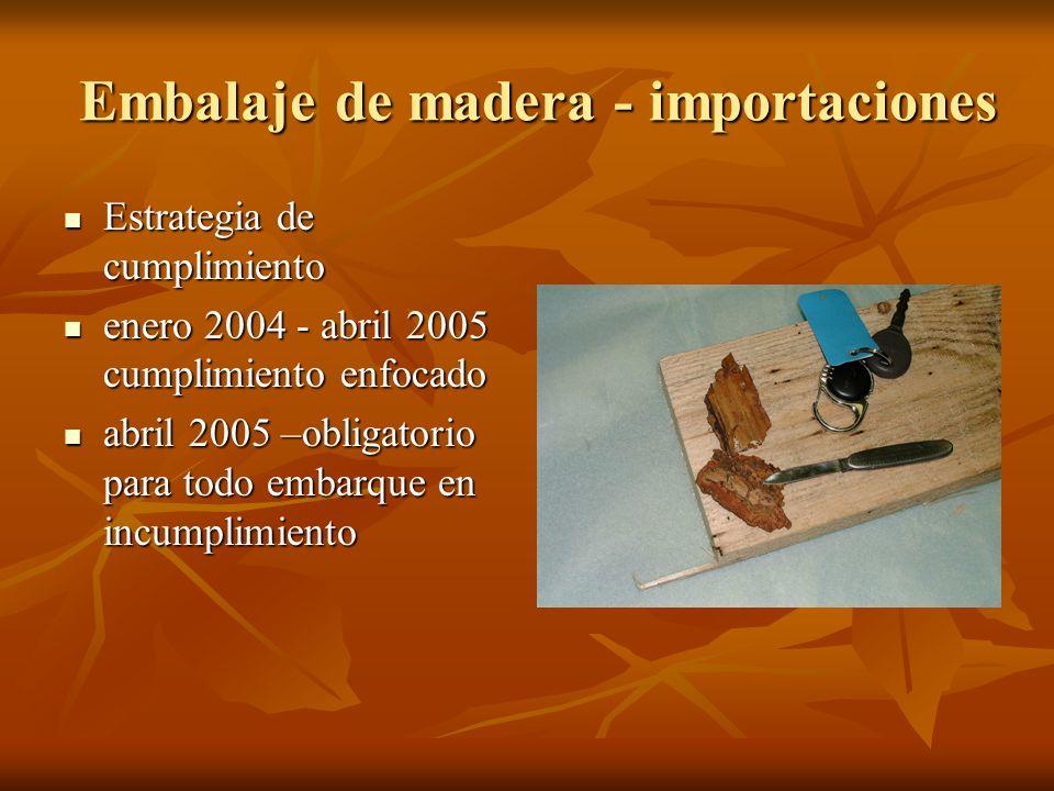 Embalaje de madera - importaciones Estrategia de cumplimiento Estrategia de cumplimiento enero 2004 - abril 2005 cumplimiento enfocado enero 2004 - abril 2005 cumplimiento enfocado abril 2005 –obligatorio para todo embarque en incumplimiento abril 2005 –obligatorio para todo embarque en incumplimiento
