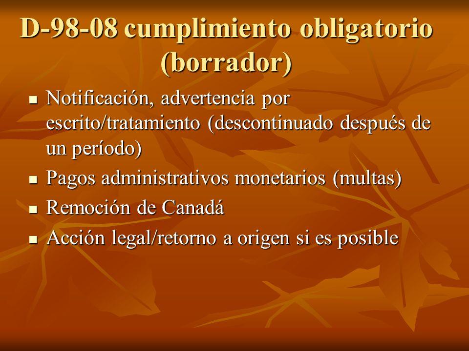D-98-08 cumplimiento obligatorio (borrador) Notificación, advertencia por escrito/tratamiento (descontinuado después de un período) Notificación, advertencia por escrito/tratamiento (descontinuado después de un período) Pagos administrativos monetarios (multas) Pagos administrativos monetarios (multas) Remoción de Canadá Remoción de Canadá Acción legal/retorno a origen si es posible Acción legal/retorno a origen si es posible