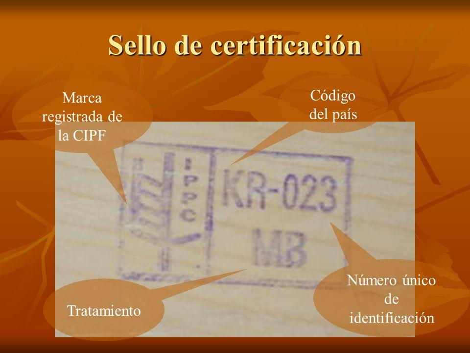 Código del país Número único de identificación Tratamiento Marca registrada de la CIPF Sello de certificación