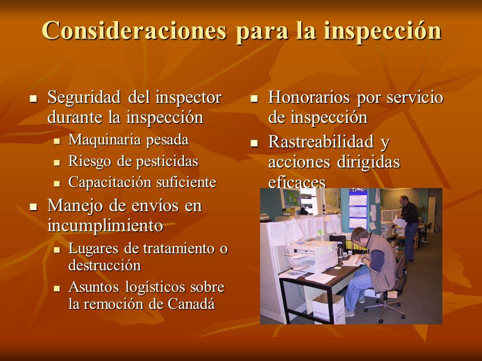 Consideraciones para la inspección Seguridad del inspector durante la inspección Seguridad del inspector durante la inspección Maquinaria pesada Maquinaria pesada Riesgo de pesticidas Riesgo de pesticidas Capacitación suficiente Capacitación suficiente Manejo de envíos en incumplimiento Manejo de envíos en incumplimiento Lugares de tratamiento o destrucción Lugares de tratamiento o destrucción Asuntos logísticos sobre la remoción de Canadá Asuntos logísticos sobre la remoción de Canadá Honorarios por servicio de inspección Honorarios por servicio de inspección Rastreabilidad y acciones dirigidas eficaces Rastreabilidad y acciones dirigidas eficaces