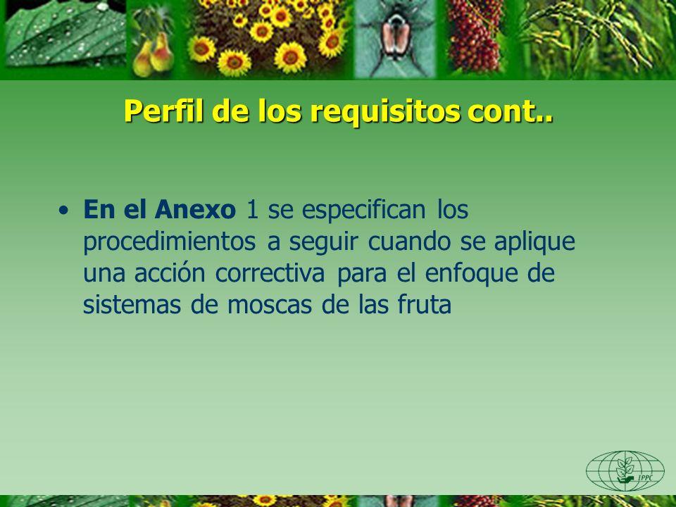 Perfil de los requisitos cont.. En el Anexo 1 se especifican los procedimientos a seguir cuando se aplique una acción correctiva para el enfoque de si
