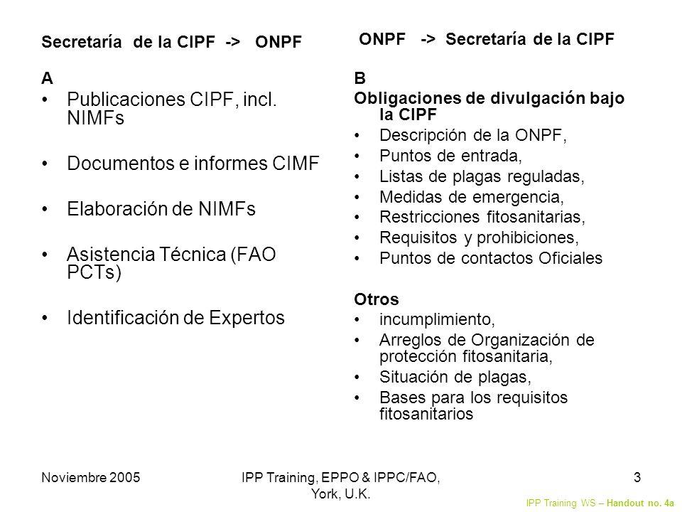 Noviembre 2005IPP Training, EPPO & IPPC/FAO, York, U.K. 3 Secretaría de la CIPF -> ONPF A Publicaciones CIPF, incl. NIMFs Documentos e informes CIMF E