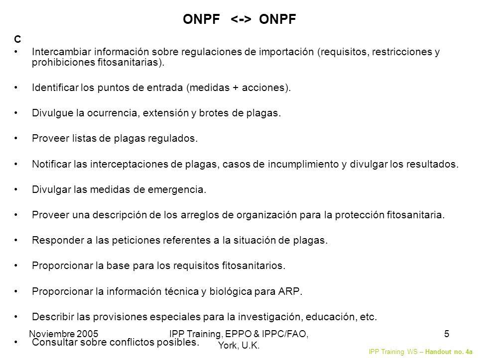 Noviembre 2005IPP Training, EPPO & IPPC/FAO, York, U.K. 5 ONPF C Intercambiar información sobre regulaciones de importación (requisitos, restricciones