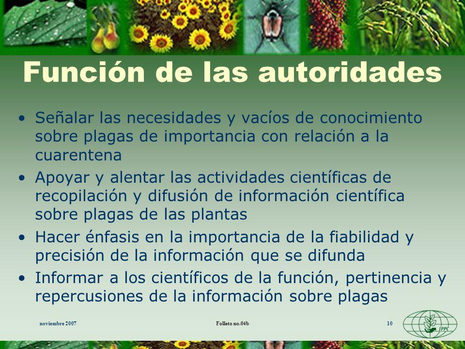 noviembre 2007Folleto no.04b10 Función de las autoridades Señalar las necesidades y vacíos de conocimiento sobre plagas de importancia con relación a
