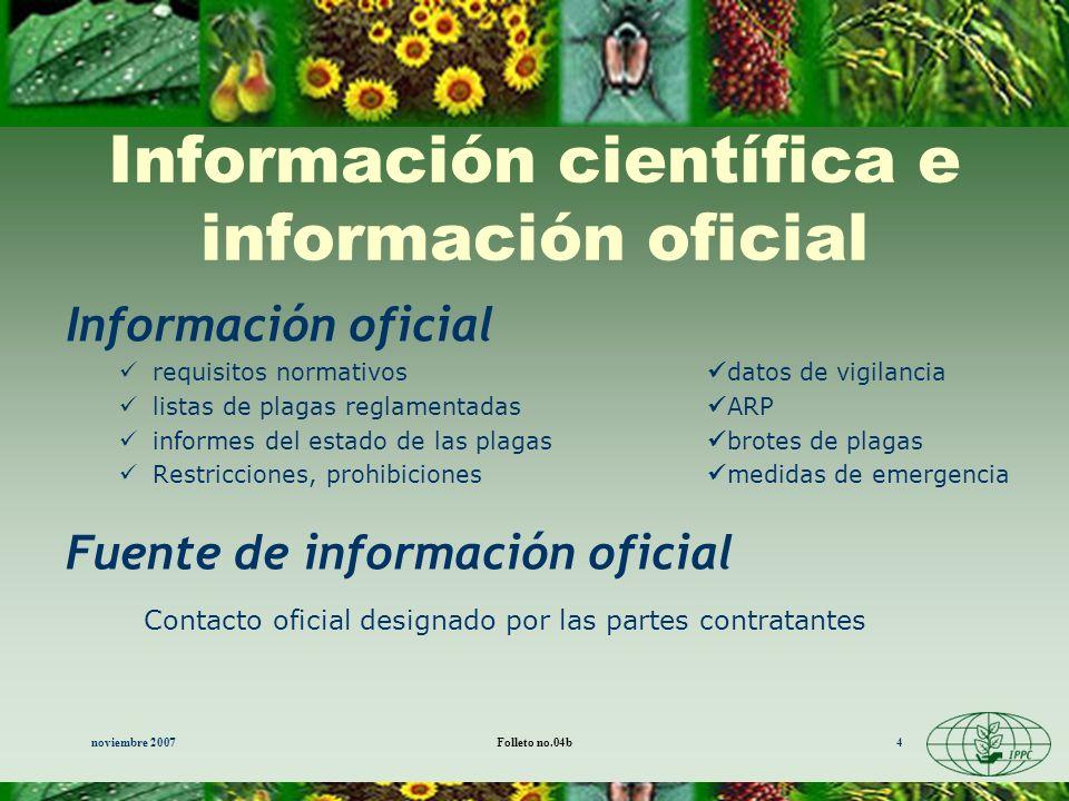 noviembre 2007Folleto no.04b4 Información científica e información oficial Información oficial requisitos normativos datos de vigilancia listas de pla