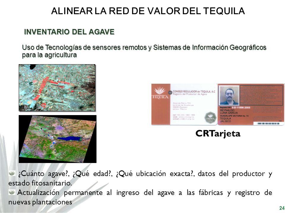 24 ALINEAR LA RED DE VALOR DEL TEQUILA INVENTARIO DEL AGAVE Uso de Tecnologías de sensores remotos y Sistemas de Información Geográficos para la agric