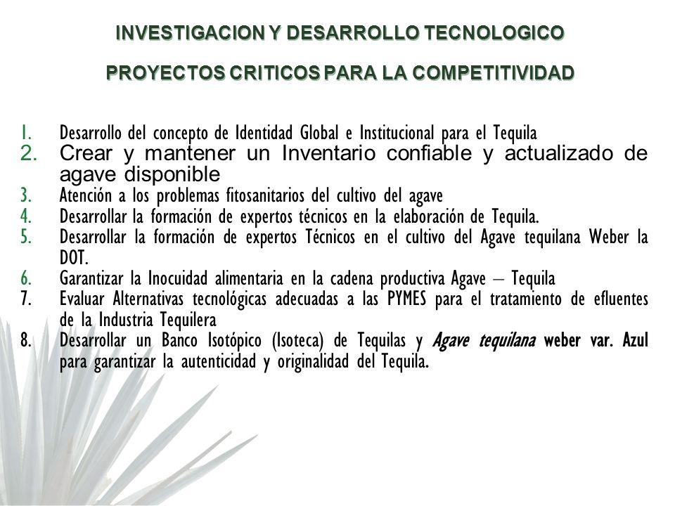 INVESTIGACION Y DESARROLLO TECNOLOGICO PROYECTOS CRITICOS PARA LA COMPETITIVIDAD 1.Desarrollo del concepto de Identidad Global e Institucional para el