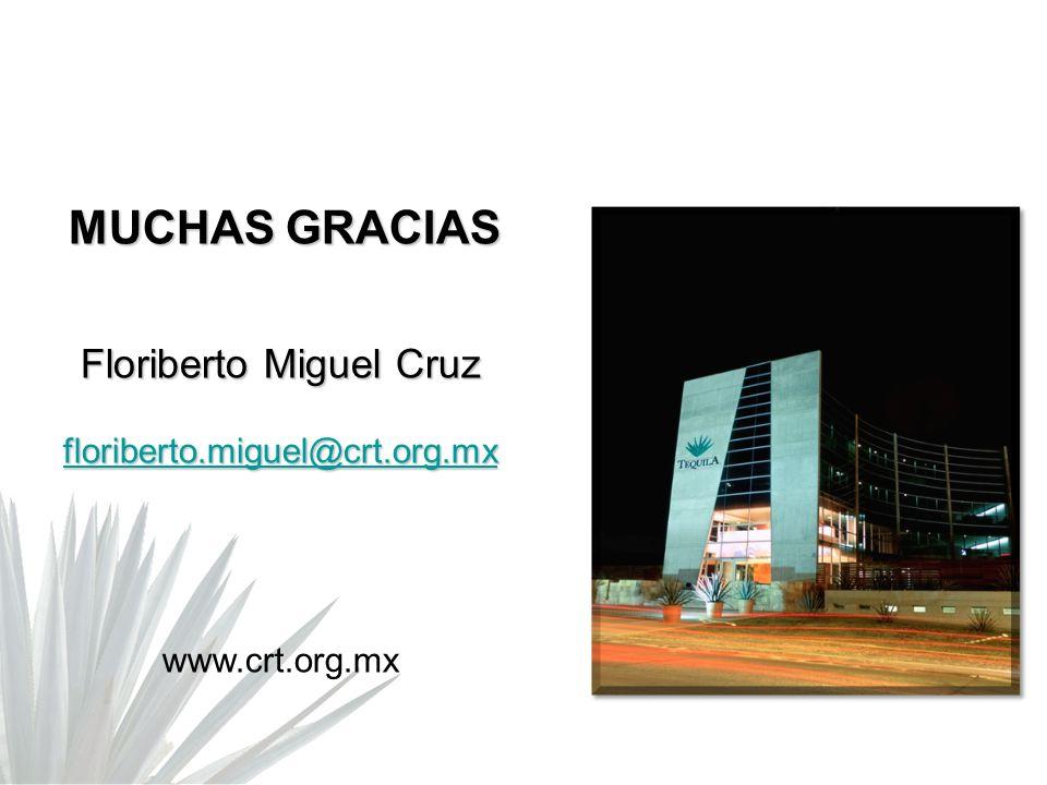 MUCHAS GRACIAS MUCHAS GRACIAS Floriberto Miguel Cruz floriberto.miguel@crt.org.mx www.crt.org.mx