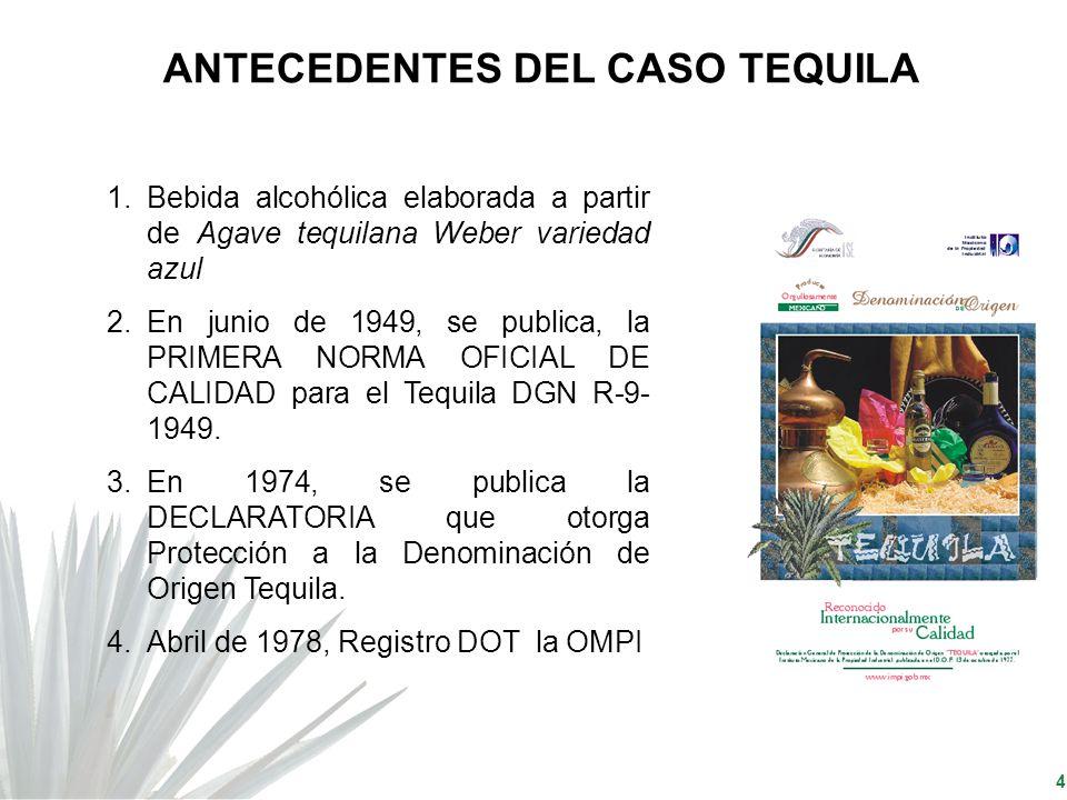 4 1.Bebida alcohólica elaborada a partir de Agave tequilana Weber variedad azul 2.En junio de 1949, se publica, la PRIMERA NORMA OFICIAL DE CALIDAD pa
