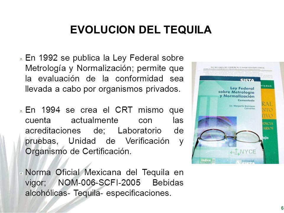 6 EVOLUCION DEL TEQUILA En 1992 se publica la Ley Federal sobre Metrología y Normalización; permite que la evaluación de la conformidad sea llevada a