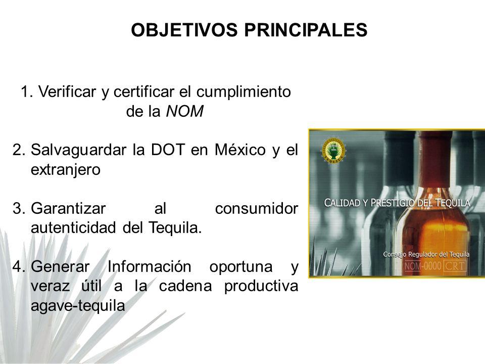 1.Verificar y certificar el cumplimiento de la NOM 2.Salvaguardar la DOT en México y el extranjero 3.Garantizar al consumidor autenticidad del Tequila