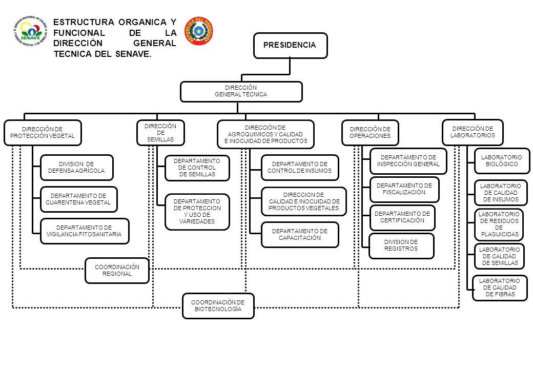 ESTRUCTURA ORGANICA Y FUNCIONAL DE LA DIRECCIÓN GENERAL TECNICA DEL SENAVE. PRESIDENCIA DIRECCIÓN GENERAL TÉCNICA DIRECCIÓN DE PROTECCIÓN VEGETAL DIRE
