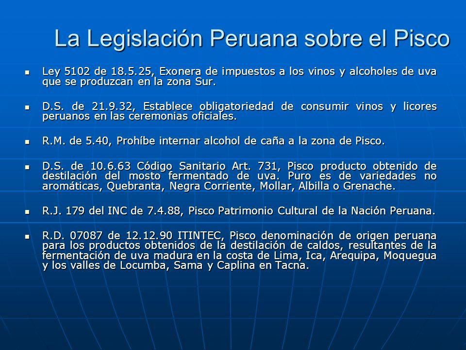 La Legislación Peruana sobre el Pisco Ley 5102 de 18.5.25, Exonera de impuestos a los vinos y alcoholes de uva que se produzcan en la zona Sur. Ley 51