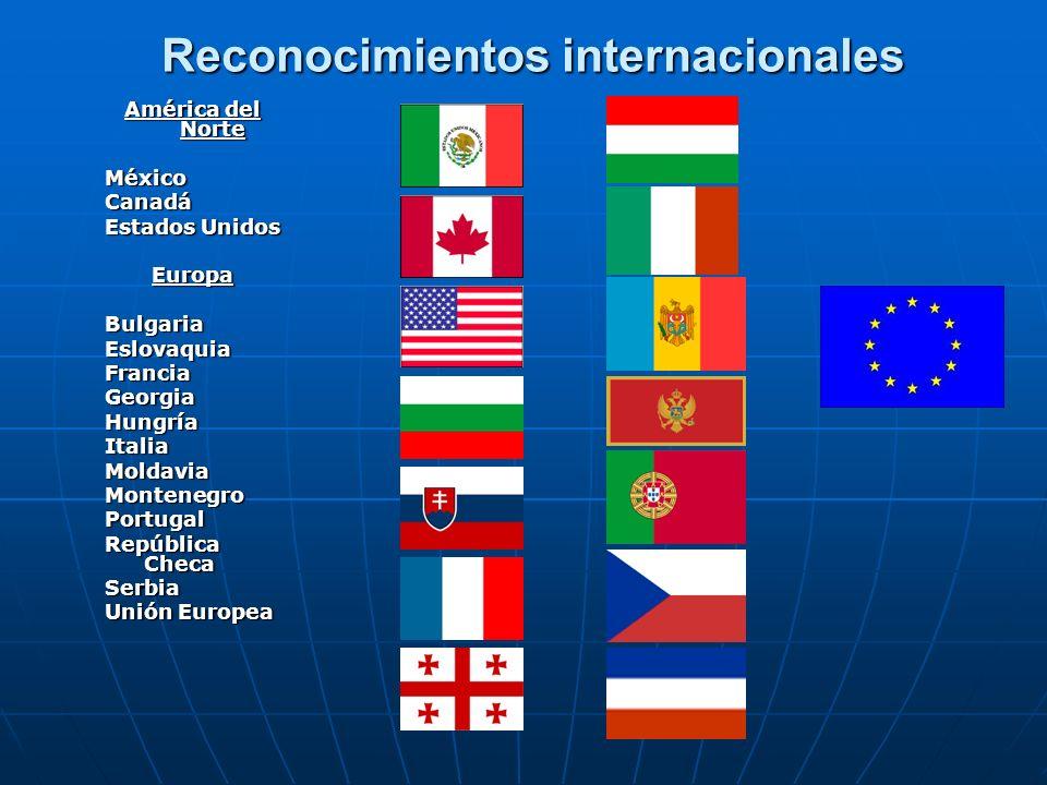 Reconocimientos internacionales América del Norte MéxicoCanadá Estados Unidos EuropaBulgariaEslovaquiaFranciaGeorgiaHungríaItaliaMoldaviaMontenegroPor