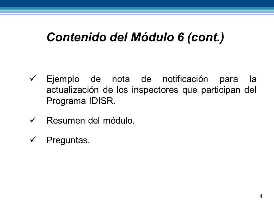 4 Ejemplo de nota de notificación para la actualización de los inspectores que participan del Programa IDISR. Resumen del módulo. Preguntas. Contenido