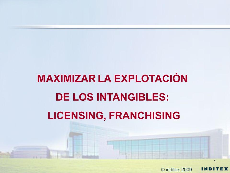 1 MAXIMIZAR LA EXPLOTACIÓN DE LOS INTANGIBLES: LICENSING, FRANCHISING © inditex 2009