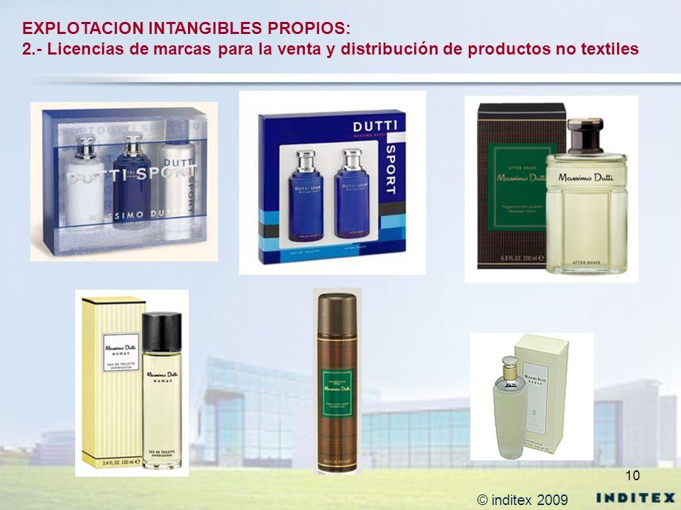 10 EXPLOTACION INTANGIBLES PROPIOS: 2.- Licencias de marcas para la venta y distribución de productos no textiles © inditex 2009